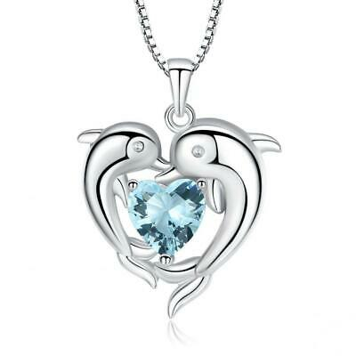 Sterling Silver Double Dolphin with Light Blue CZ Heart Pendant Necklace,...