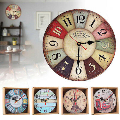 KE_ Vintage Rustic Wooden Wall Clock Home Antique Chic Retro Kitchen Decor hig