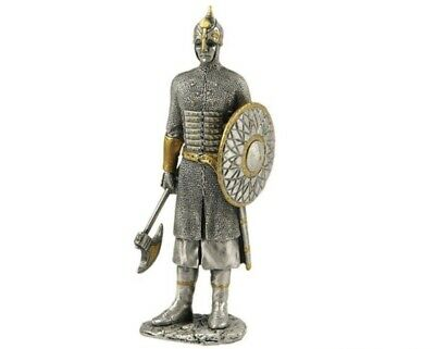 Medieval Knight in Armor Shield Battle Ax Standing Life Size Statue
