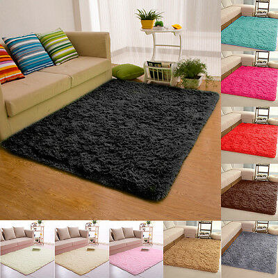 Anti-Skid Fluffy Rugs Shaggy Area Rug Dining Room Carpet Floor Mat Kids Bedroom