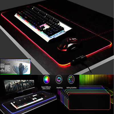 RGB Colorful LED Lighting Gaming Mouse Pad Mat FOR PC Laptop 35CMx25CM