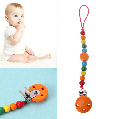 Rainbow Wood Beaded Dummy Chain Clip Pacifier Nipple Holder For Infant Soother