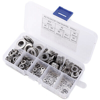 360Pcs Stainless Steel Assorted Flat Washers Spring Washers For Metric Bolts