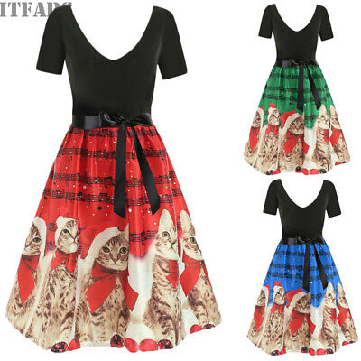 US Fashion Womens Plus Size Christmas Print Cats Tabs Gown Evening Party Dress