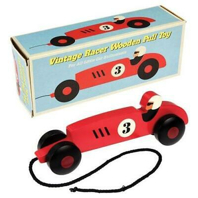 NEW Rex London Wooden Pull Along Vintage Racer Car - Baby Pull Toy