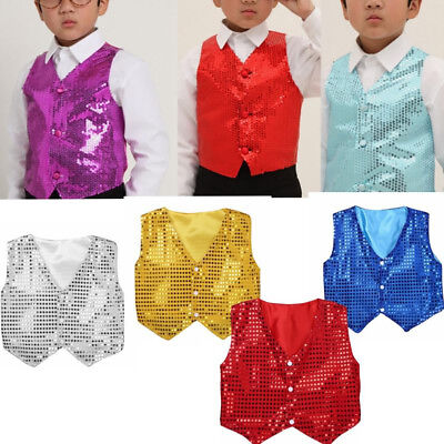 KE_ Kids Boy Girls Sequins Jazz Dance Show Vest Waistcoat Hip-Hop Costumes Rel