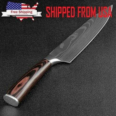 8 Inch Japanese Kitchen Chef Slicing Knife With Wooden Handle Damascus Pattern