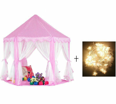 UK Princess Castle Play House Children Outdoor Kids Play Tent With Light
