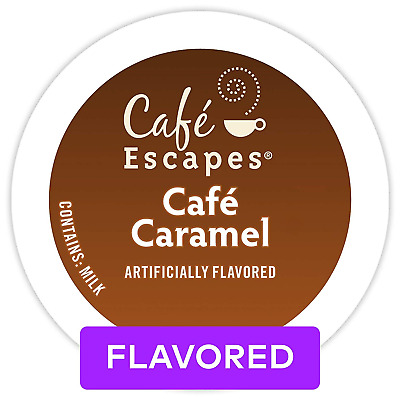 Café Escapes Café Caramel, Single Serve Coffee K-Cup Pod, Flavored Coffee, 72