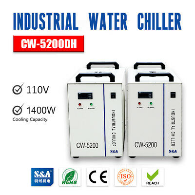 US S&A AC 1P 110V 60Hz CW-5200DH Industrial Water Chiller for single 8KW Spindle