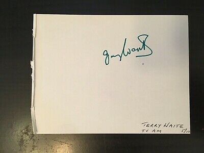 Terry Waite - Church Envoy Held Hostage - Signed Autograph Album Page