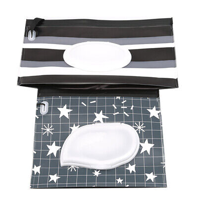 Black Star Baby Wet Wipe Pouch Travel Wipes Holder Case Reusable Wet Wipe Bag LH