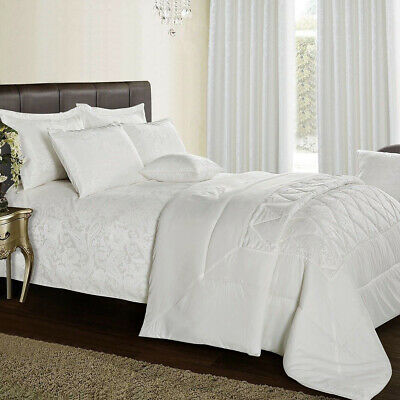 Super Soft Quilted 3 Piece White Bedspread Single Double King S.King Bedding Set