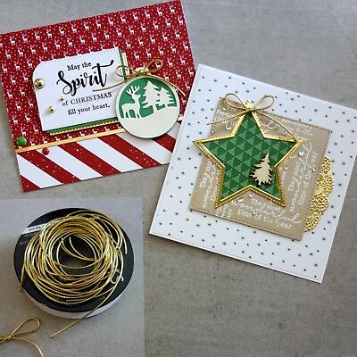 """Metallic Cord 1Mm """"gold"""" Rat Tail Non-Stretch 25Mtr For Christmas Cardmaking"""