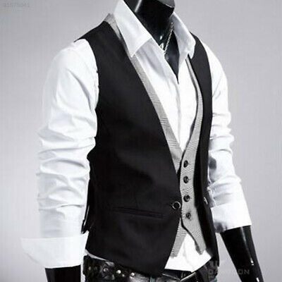 0A93 Fashion Men's Designed Casual Jacket Slim Skinny Dress Waistcoat Black XXL