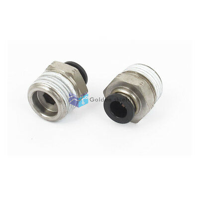 """5 Pcs 1/4"""" Tube 3/8BSP Male Thread Straight Air Line Quick Coupler Fittings"""