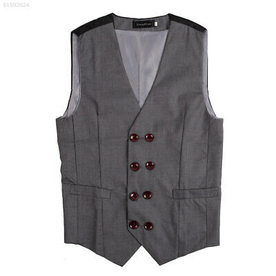 6368 Mens Casual Double breasted Button V Neck Tuxedo Dress Vest Top Grey XL