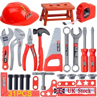 Child Kids Deluxe Drill Tool Box Set DIY Builders Building Construction Toy New