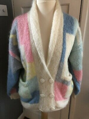 Soft Options 1980's Mohair Cardigan OSFA Vintage Pastel Hand Knitted