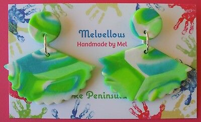 Green/Blue Fan shape earrings Melvellous