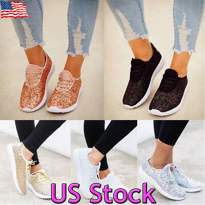 US Womens Sequin Glitter Lace Up Athletic Shoes Gym Walking Sneakers Size  5-8.5 8ef823abd