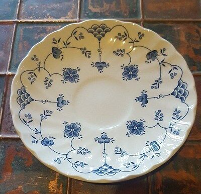 VINTAGE CHURCHILL MADE IN STAFFORDSHIRE ENGLAND SAUCER PLATE, BLUE & WHITE, 14cm