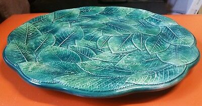 "VINTAGE LARGE CERAMIC LEAVES 3D PLATTER/CENTERPIECE SERVING PLATTER"" 32cm,ITALY"