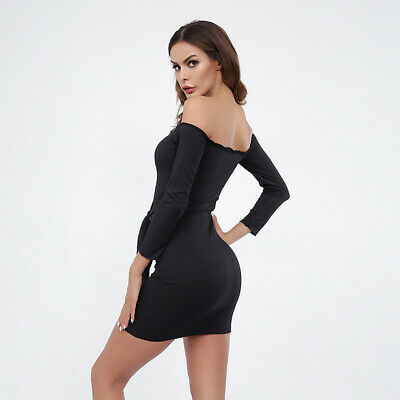 Women Slim Party Dress Off Shoulder Lace Up Solid Color Bodycon Dress ONE