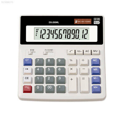 8D75 Office Home 12-Digits Display Desktop Solar Power Calculator Large Buttons