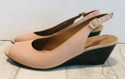 d9e6721354d2 Clarks Collection Patent Wedges Size 5.5 Wide Fit Slingbacks Pale Pink Open  Toe