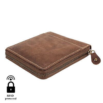 Mens Wallet Real Leather Zip-Around Hunter New in Gift Box Genuine Brown