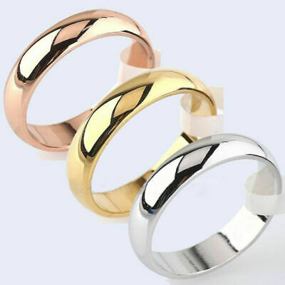 6mm Round Men/Women's Band Plated Wedding White/Rose 18K Ring Yellow Sz6-12 Gold