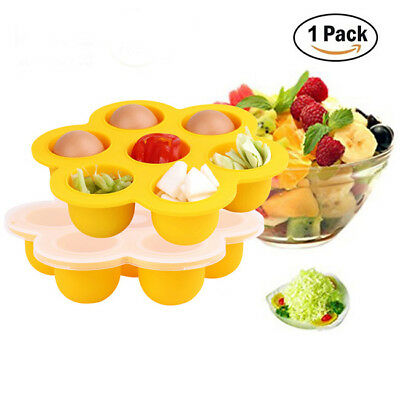 Silicone Weaning Baby Food Freezer Tray 7 Pots Storage Container with Lid LH