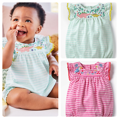 Ex Baby Boden Girls Parrot Dino Embroidered Romper Bodysuit x 1 Age 6 12 18 24