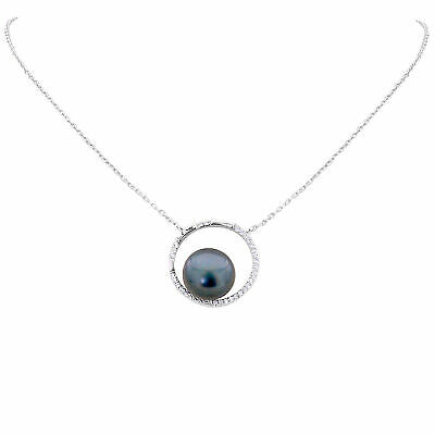100% Natural 11Mm Tahitan Freshwater Pearl Full-Moon Deisgn Silver 925 Necklace