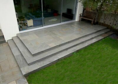 £18.92/m² - Kandla Grey Indian Sandstone Paving Patio Slabs Flags 18-25mm 18.5m²