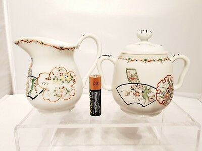 20thC Japanese Antique Famille Rose Art Deco Period Milk Jug Sugar Bowl Set