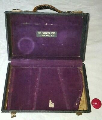 Antique Vintage Wood Instrument Case Leather Handle Purple Lining Warwick Corp.