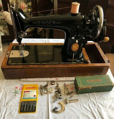 Vintage Singer 210k Sewing Machine With Case & Box Of Accessories 1949