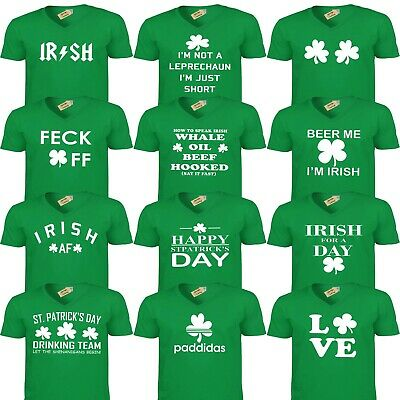 V-NECK St Patricks Day T-Shirt Funny Ireland Leprechaun Irish Drunk Beer Paddy