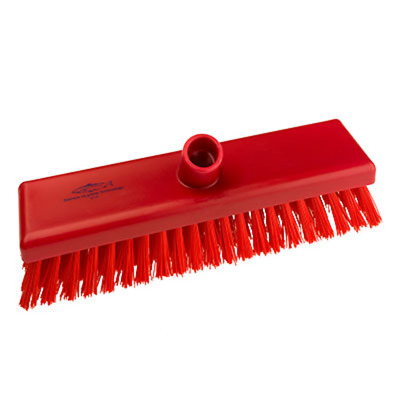 "Red 12"" Deck Scrub Brush B759 Resin Set 305mm Stiff Hygiene Salmon Hillbrush"