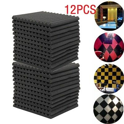12pc Soundproofing Acoustic Foam Tiles Noise Sound Absorbing 30X30X2.5CM