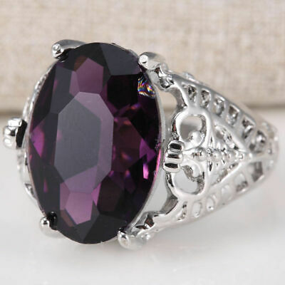Huge Natural 6Ct Alexandrite Ring 925 Silver Bridal Wedding Engagement Size 6-10