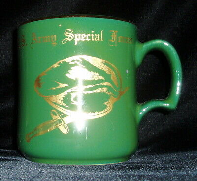 U.S. Army Special Forces Ceramic Mug, Green with Gold Beret, Dagger, made in USA