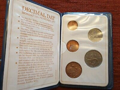 1971 1st Issue Britain's First Decimal Coin Set Wallet / 5 Coin Set UNC.