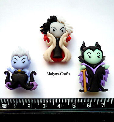 Disney URSULA CRUELLA DE VIL and MALEFICENT Craft Buttons Sleeping Beauty