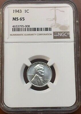 1943-P Lincoln Wheat Steel Cent NGC MS65 MS-65 - TCC