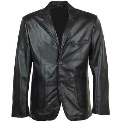 Mens Classic Genuine Leather Blazer Black Colour New Jacket Coat