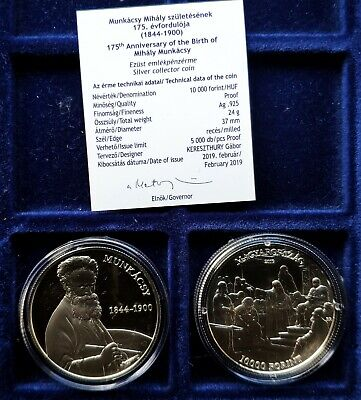 Hungary 2019 175th Anniv of the Birth of Mihaly Munkacsy 10000 Ft, Proof Ag UNC