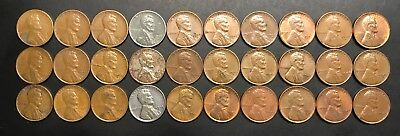 Complete Set of 1940-49 PDS Lincoln Memorial Cents - 30 Circulated Pennies